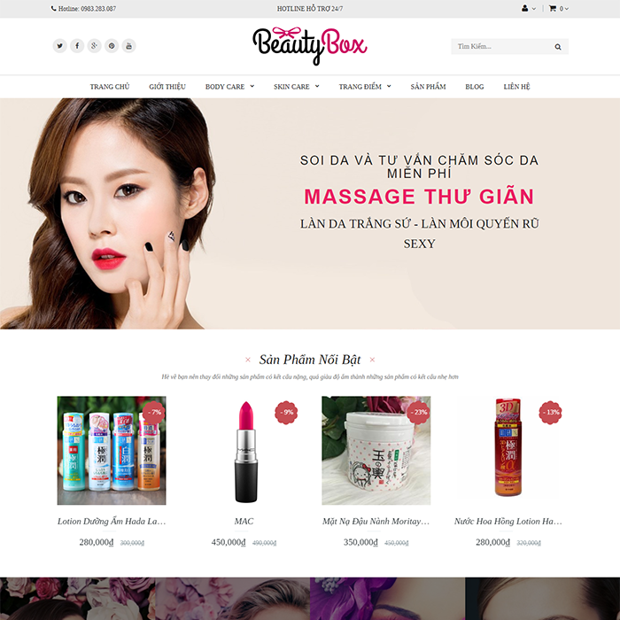 Website shop mỹ phẩm BeautyBox