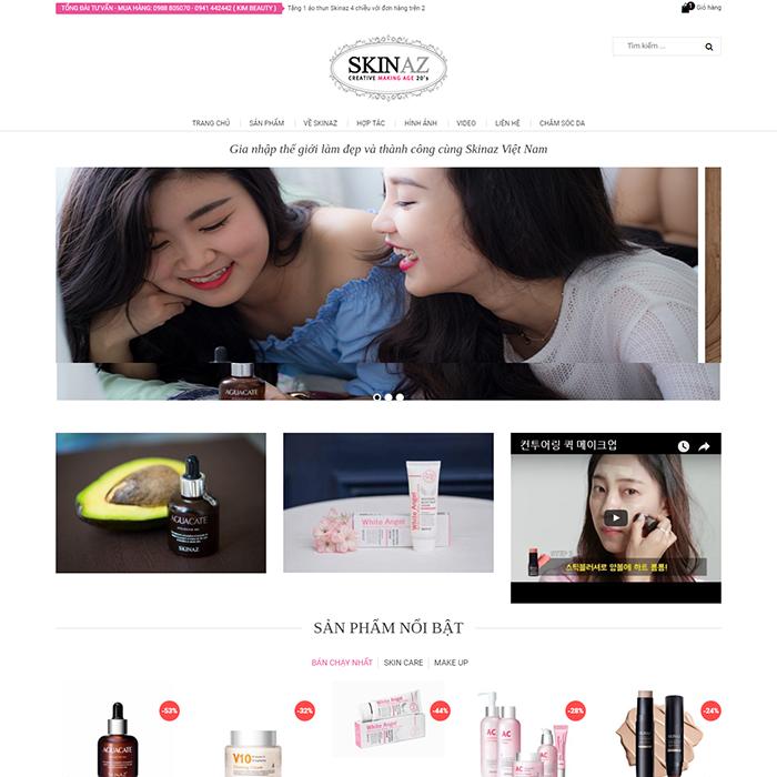 Website shop mỹ phẩm Skinaz