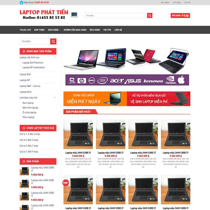 Website cửa hàng laptop Phát Tiến