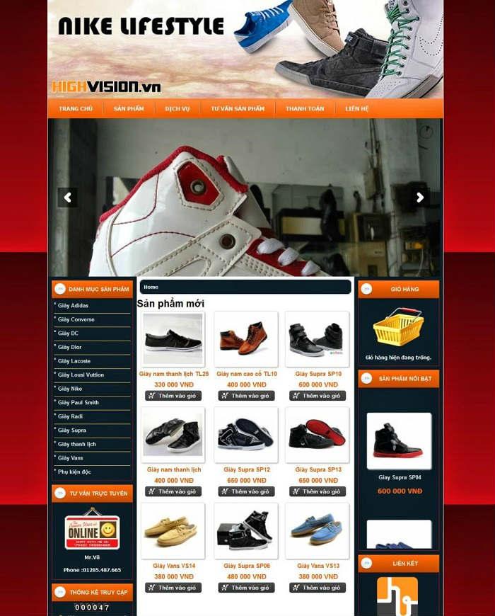 Thiết kế web bán hàng online giày dép giá rẻ